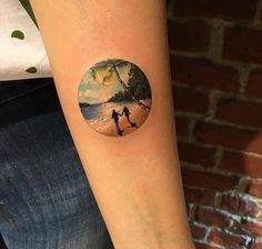 16 Summery Beach Tattoos For Your Own Tropic Thunder - Beach tattoo by Eva Krbdk. EvaKrbdk Eva beach summer paradise ocean vacation getaway couple You are - Sunset Tattoos, Palm Tattoos, Ocean Tattoos, Circle Tattoos, Body Art Tattoos, New Tattoos, Tattoos For Guys, Cool Tattoos, Beach Tattoos