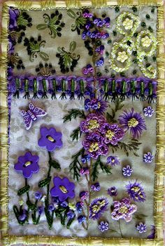 Fabric Postcard - Flowers for May by konnykards, via Flickr