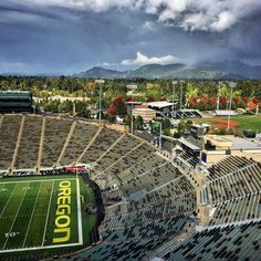 """440 Likes, 2 Comments - Home of the Oregon Ducks (@autzen.stadium) on Instagram: """"The PULSE of the Willamette Valley #itneverrains ⚡️"""""""