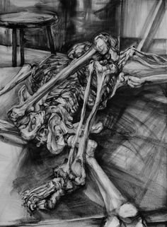 "Clara Lieu, Student Artwork, RISD Foundation Studies, Freshman Drawing, Foreshortened Skeletons, lithographic crayonon paper,  36"" x 48"""