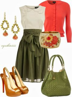 Spring Outfits | Beautiful Spring Colors  Bella Cardigan, Ivory lace top, In Tandem Skirt, Christian Louboutin Shoes, Big Buddha bag  by cynthia335