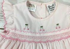 Sarah Louise England Baby Girl 3M Pink Cherry Hand Smocked Classic Dress  | eBay