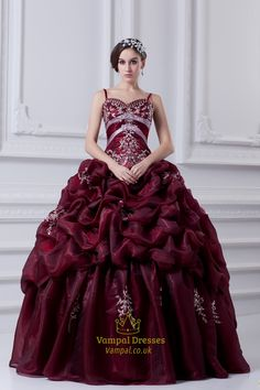 vampal.co.uk Offers High Quality Burgundy Quinceanera Dresses With Straps And Embroidery,Dark Red Quinceanera Dresses 2016,Priced At Only USD $241.00 (Free Shipping)