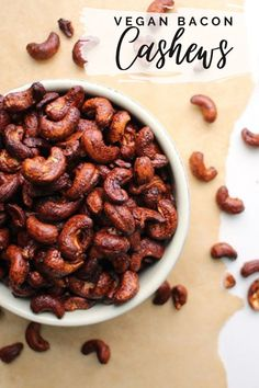Smoky, salty, slightly-sweet Bacon Cashews only have four ingredients, and they're a total snap to make. Eat them on their own or use them to top soups, salads, or your favorite bowl! Delicious Vegan Recipes, Raw Food Recipes, Veggie Recipes, Homemade Bbq Sauce Recipe, Sauce Recipes, Vegan Snacks, Healthy Snacks, Vegan Comfort Food, Vegan Dishes