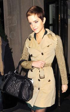 Emma Watson, give me your gorgeous, studded, Burberry trench coat....NOW