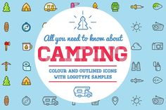 Awesome Camping Icons and Logo Set by Ckybe's Corner on @creativemarket