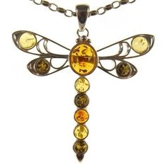 GIFT BOXED BALTIC AMBER STERLING SILVER 925 DRAGONFLY PENDANT JEWELLERY JEWELRY | eBay