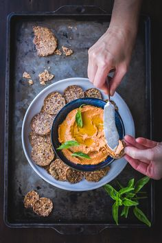 Cashew + Sun-Dried Tomato Dip >>>> This stupid-easy recipe will especially please your health-conscious, vegan and lactose-intolerant friends. I like to top it with good olive oil and spread it on crackers for mid-afternoon snackage, but I could also see it making a killer spread on a roasted vegetable sandwich. Vegan