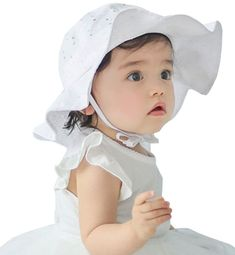 Toddlers Baby Girls White Eyelet Hollow Wide Brim Sun Protection Summer Hat   Sumolux Baby Sun 0ca23f0b9cd7