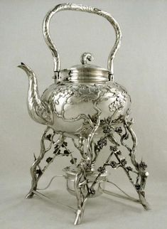 An antique sterling silver tea kettle. Vintage Tea, Vintage Silver, Antique Silver, Antique Jewelry, Bronze, Silver Teapot, Teapots And Cups, My Tea, Tea Time