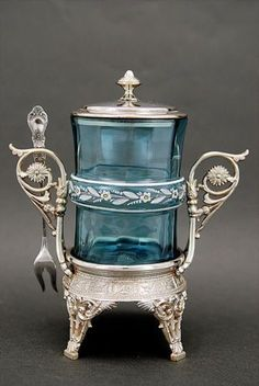 Blue Enameled Pickle Castor and Sterling Silver Stand