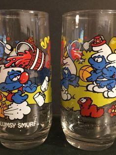Vintage Smurf Glasses Set of 2 Clumsy Smurf 1983 Peyo Mid Century Tumblers Blue