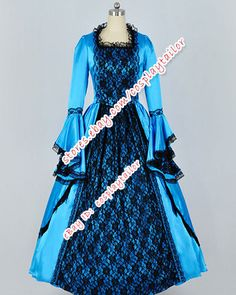 Reenactment Civil War Southern Belle Ball Gown Satin Lace Dress Prom Clothing #Dress