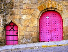 Pink doors in Portugal