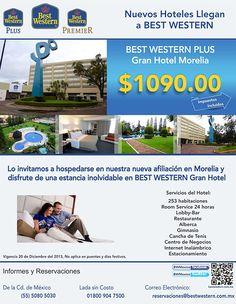 Best Western PLUS Gran Hotel Morelia  te invita a hospedarte: aprovecha esta tarifa especial: $1090.00