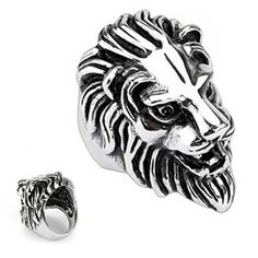 Polished Stainless Steel Biker Ring For Men - Lion Design Crazy2Shop. $8.00. Stone Type: No Stones. Finish: Polished. Features: Lion Head Ring Design. Width: 11mm. Metal: Stainless Steel
