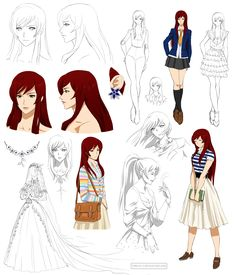 Anime character design ideas: gentle girl design, kaho (commision) by preci Character Reference Sheet, Character Model Sheet, Character Modeling, Character Drawing, Character Concept, Character Design Sketches, Female Character Design, Character Design Inspiration, Female Characters