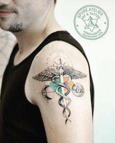 #alchemy #caduceus #symbol #geometry #tattooartist #marieroura #epureatelier #finelines #happy