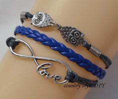 Charm  love infinity bracelets owl braceletGray by CountrystyleDIY, $2.99