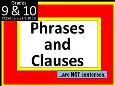 This is a PowerPoint, lesson plan, several worksheets and activities on Phrases and Clauses. An EATS lesson plan (tied to the Common Core Standards) as well as two graphic organizers are included.Complete with an essential question, activating strategy, vocabulary, teaching strategies, and an exit ticket, students learn the difference between phrases and clausesIn Part 1, students are shown examples of each phrase type:Noun phraseVerb phraseAdjectival phraseAdverbial phraseParticipial ...