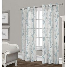 Corfu Sheer Curtain Panel- White & Teal 84-in