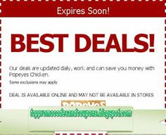 Free Printable Popeyes Chicken Coupons Popeyes chicken