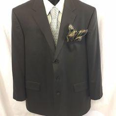 Nautica Mens Sport Coat Size 50L Three Button 100% Wool Dark Green Timeless #Nautica #ThreeButton