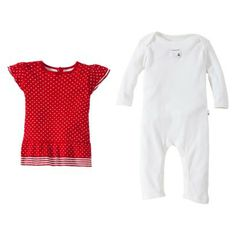 Burts Bees Baby™ Infant Girls' Dot Bee Coverall with Dress - Red