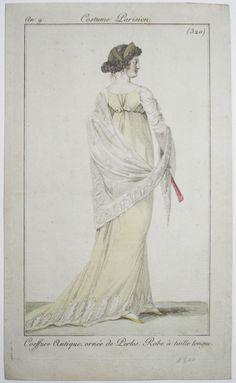 Coiffure Antique, ornée de Perles. Robe à taille longues  Reminds me of depictions of Juno