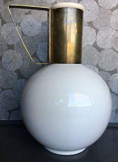 Kenilworth Midcentury bulb carafe coffee pot white ceramic and brass