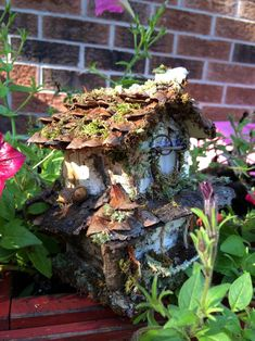 Beautiful two story fairy house with bark moss by ChezDarlington Second Story, Unique Gifts, Handmade Gifts, Pine Cones, Sea Glass, Fairy, Texture, Wood, Crafts