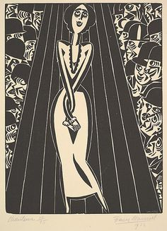 Frans Masereel, 'Singer (Chanteuse),' 1923, woodcut print, edition of 25, 27 cm. x 20 cm.