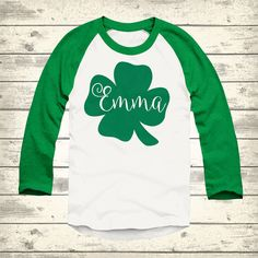 Clover St Patricks Day Raglan Personalized St by ThePaisleyPig501