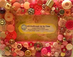 """RESERVED For Tyler - Pink Button Picture Frame for 4""""x6"""" Photo"""