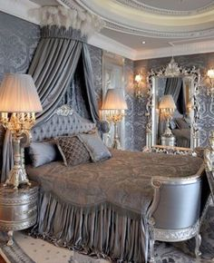 silver, grey luxurious bedroom