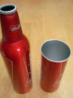 Aluminum Bottle Tumbler Cup & Cook Pot for an Alcohol Stove.  Cut off neck with a hacksaw, roll back top with a wooden dowel and crock back and forth on hard surface until lip is bent against bottle.  Repeat to roll first layer under second to eliminate sharp edges