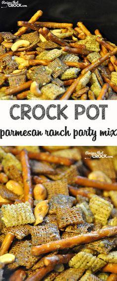 Crock Pot Parmesan Ranch Party Mix - Recipes That Crock! - - Crock Pot Parmesan Ranch Party Mix – Recipes That Crock! Recipes 24 Snack Mix Recipes For Any & Every Party Snack Mix Recipes, Trail Mix Recipes, Yummy Snacks, Appetizer Recipes, Crispix Snack Mix Recipe, Crock Pot Appetizers, Appetizer Ideas, Cereal Recipes, Party Recipes