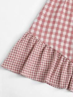 Knot Shoulder Ruffle Hem Checked Cami Dress [dress180622315] - €30.17 : cuteshopp.com Plaid Dress, Dress P, Plaid Fabric, Pink Fashion, Ruffles, Knots, Shoulder, Casual, Color