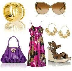 Purple purse gold accesories