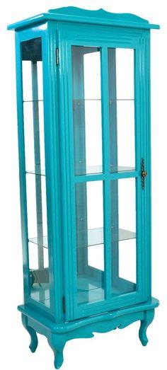 Cristaleira Colorida Azul Turquesa 1 Porta com Aberturas Laterais e Fundo em Espelho