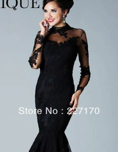 Black Lace Mermaid Wedding Evening Gown Long Sleeve Mother of the Bride Dress Prom Pageant Gown $165.00