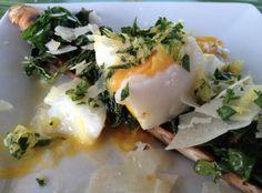 Grilled Bruschetta w/ Poached Egg, Asparagus, Gremolata, Arugula & Truffle Oil.