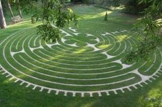 The Tofte Labyrinth is situated in a glade surrounded by mature trees and beside the Sanctuary wooden building. It is based on the design of the labyrinth at Chartres Cathedral. The area is very tranquil and spiritual. Parks, Labyrinth Maze, Unique Garden, Prayer Garden, Birds Eye View, Topiary, Pathways, Landscape Architecture, Garden Design
