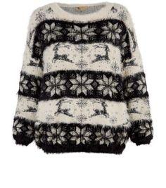Cream Reindeer Snowflake Fuffy Jumper. Beata Węgielska · Cozy · Christmas  Sweaters For Women 46b794d49