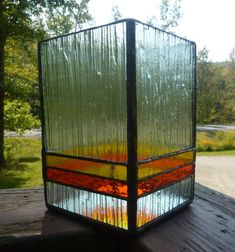 Stained Glass Candle Holder in Orange and Yellow by WildwindsGlass, $37.00