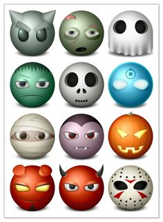 Halloween smiley icons. Set of 14 different Halloween related smiley icons for you and for your designs. Format: .png icons. Free for download. Theme: halloween icons.