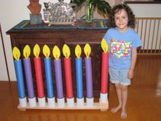Pool noodle menorah (could use as birthday candles in classroom)