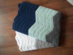 Baby Blanket Crochet Navy Blue White Grey Chevron by NapTimeMarket, $55.00