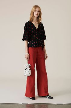 High waisted palazzo denim trousers with contrast stitching, belt loops and side pockets. Wrap Blouse, Karl Lagerfeld, My Style, Pants, Clothes, Shopping, Black, Balloon Sleeves, December