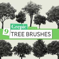 9 Tree Photoshop Brushes by Grepic on Etsy #photoshop #trees #brushes #abr #nature